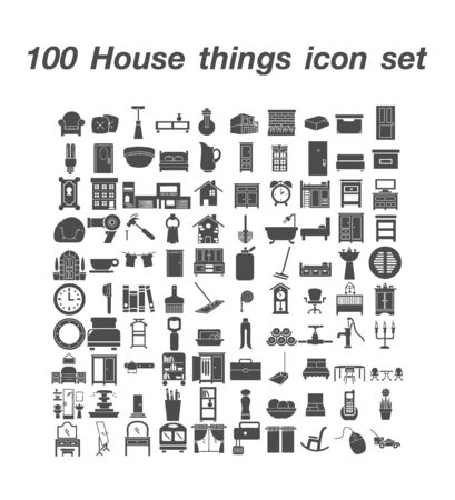 100  Home Things icon set 일러스트