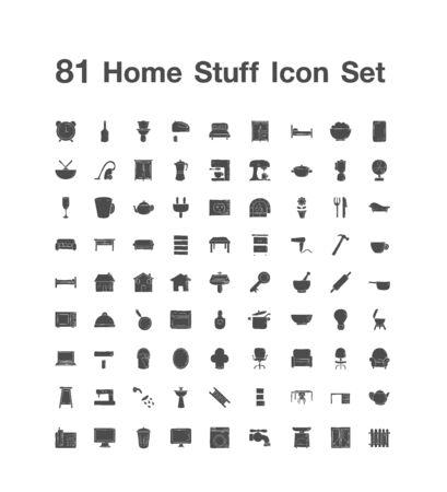 81 Home Stuff icon set Ilustracje wektorowe
