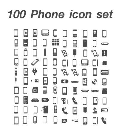 100 Phone icon set