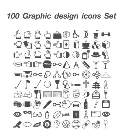 100 Graphic design icon set