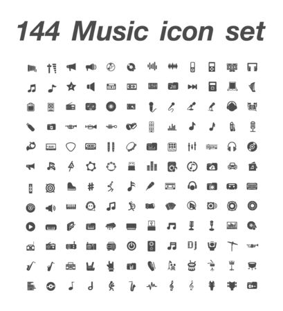144 Music icon set 일러스트