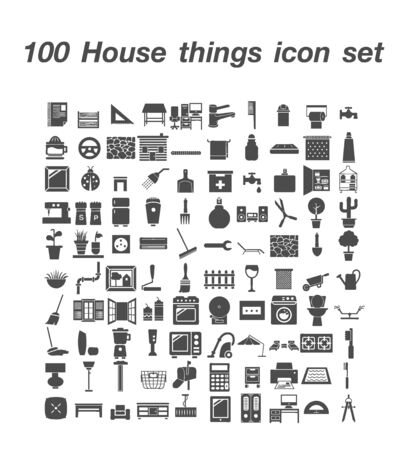 100 House Things icon set