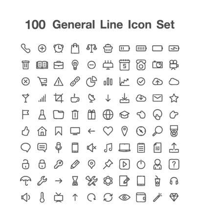 100 General line icon set