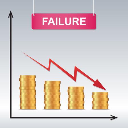 fail: Business fail, Graph down , illustration