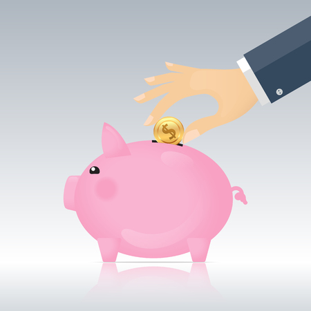 pink Piggy bank and businessman hand with coin. illustration Illustration
