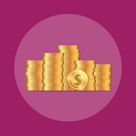 Coins stack illustration, coins flat, coins pile, coins money, one golden coin standing on stacked gold coins