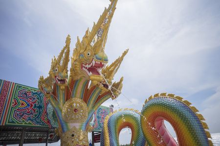 serpents: Serpents are spraying water, King of Nagas , serpent in Thailand and blue background