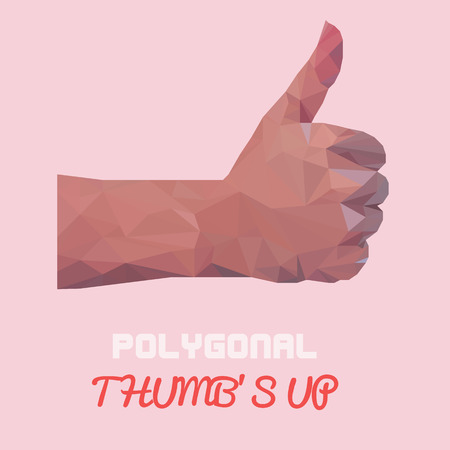 pastel like: Pink pastel Polygonal thumbs up vector- sign by hand, like sign by hand (vector illustration of a many triangles) Illustration
