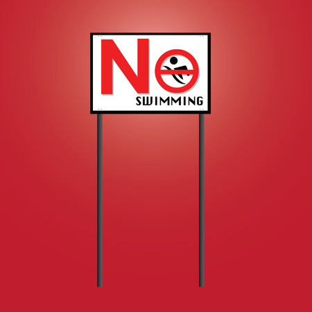 swiming: Sign for No swiming board vector icon Illustration