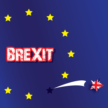 rupture: Star of the United Kingdom Flag striped jump from flag of European Union , text BREXIT , meaning rupture of United kingdom and European union, vector illustration