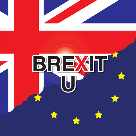 rupture: Flags of the United Kingdom and the European Union with a rift, text BREXIT,U , meaning rupture of United kingdom and European union, vector illustration