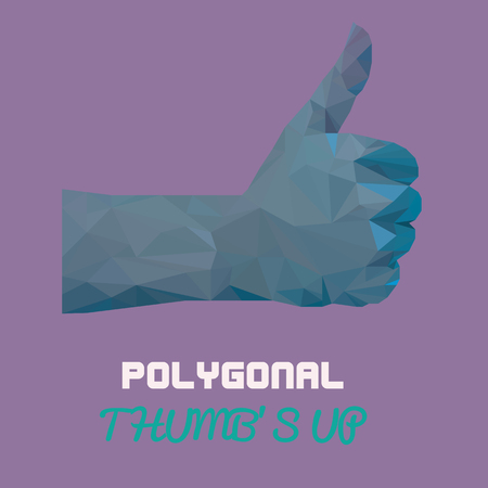 pastel like: Blue pastel Polygonal thumbs up vector- sign by hand, like sign by hand (vector illustration of a many triangles)