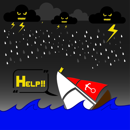 boat accident: a boat beign accident crashes by rain, thunderbolt and storm giant Waves, text Help, Small boats should abstain from shore