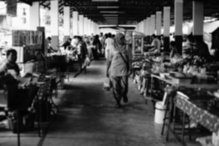 intentionally: people at thai market ,Intentionally blurred editing post production. black and white picture style