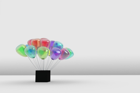 gauzy: many gauzy colorful balloon planting at a black box on abstract white floor and wall in the room,abstract idea background,3d rendering