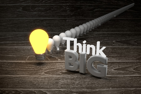 optimism: conceptual,think big idea,think different is a leader to success a business education,Think Big Positive Optimism Idea Intention Concept