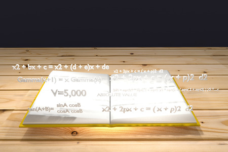 equation: mathematical equation float up on a white book and yellow cover,light under the bookknowledge concept,mathematic concept,3d rendering Stock Photo