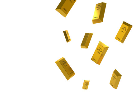 Falling price of gold represented by a golden yellow metal bar going down,gold drop,pricing concept,rich concept,white isolate background,3d rendering illustration