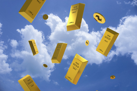 Falling price of gold represented by a golden yellow metal bar and dollar coins going down from sky,gold drop,pricing,rich,price of life,lottery winner concept,3d rendering illustration