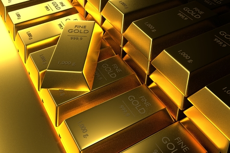 Close up Stacked gold bars,3d rendering,illustration