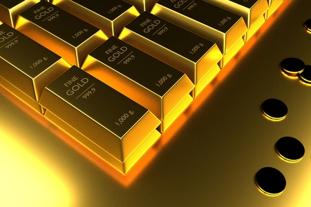 Close up Stacked gold bars and coins,3d rendering,illustration Stock Photo