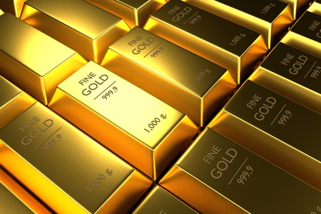 goldbar: Close up Stacked gold bars,3d rendering,illustration