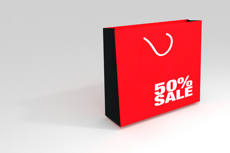 50 number: 50% sale off promotion for product selling,red shopping bag and text �sele� with text number 50%,summer sale,end of season,Shock price,put on white background,3d rendering illustration