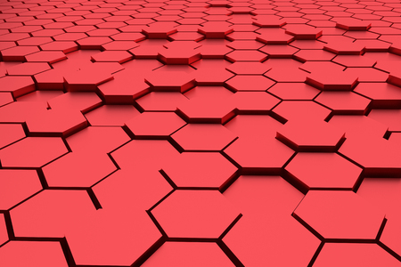 abstract red hexagons 3d rendering background Stock Photo