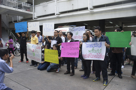 mob: Bangkok, Thailand : August 31, 2016 - fords car user in thailand get a flash mob at prime ministers office to call for justice about gear problem in ford fiesta car,Deception customer of by ford thailand conpany,Bangkok Thailand Editorial