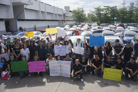 demonstrator: Bangkok, Thailand : August 31, 2016 - fords car user in thailand get a flash mob at Nang Leang Racecourse to call for justice about gear problem in ford fiesta car,Deception customer of by ford thailand conpany,Bangkok Thailand Editorial