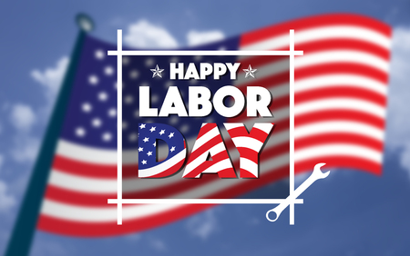 Happy Labor day american,text signs,blurred american flag and blue sky in background. Stock Photo