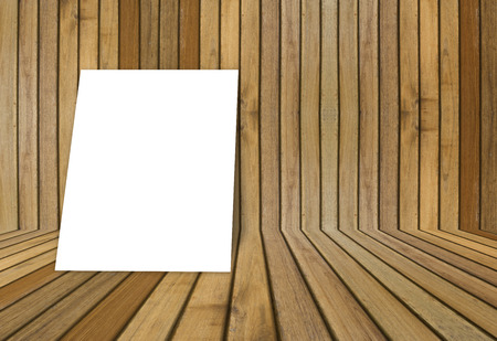 straggly: empty white poster frame put on old grunge texture wooden interior room for present product, perspective wooden floor and wall,template for your content Stock Photo