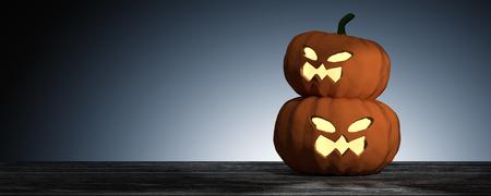 3D Rendering : Halloween head jack-o-lantern pumpkin on wooden floor with light drop background.halloween concept illustration