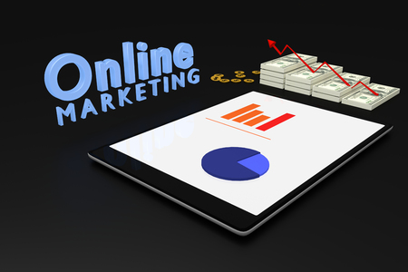 grow money: 3D rendering : online marketing concept, computer tablet with a bar graph on screen and dollars money with red arrow grow up,text online marketing,illustration Stock Photo