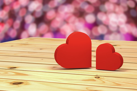 out of focus: 3D rendering : illustration of valentines day conceptual,two heart put on wooden table with out of focus light in background,love couple concept