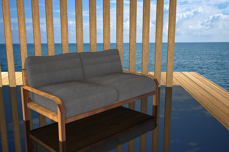 outdoor living: 3D rendering : illustration of modern wooden sofa  interior decoration at balcony outdoor wooden room style with Sundeck on Sea view for vacation and summer  3d render outdoor living