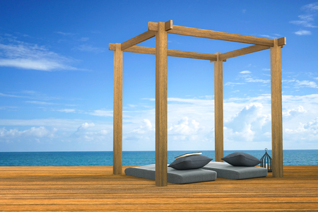 outdoor living: 3D rendering : illustration of modern wooden beach lounge decoration at balcony outdoor wooden room style with Sundeck on Sea view for vacation and summer  3d render outdoor living