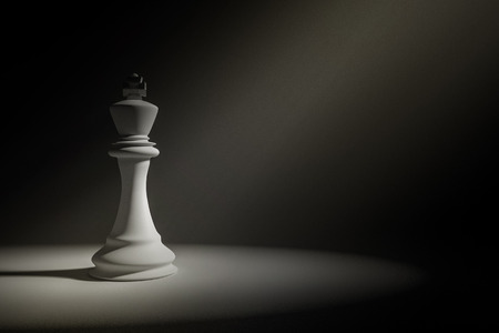adversary: 3D Rendering : Illustration of white king chess in a very dark room with light painting drop on a chess,leader concept,business success concept