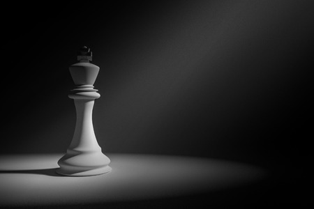 conquer adversity: 3D Rendering : Illustration of white king chess in a very dark room with light painting drop on a chess,leader concept,business success concept