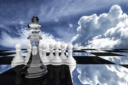 3D Rendering : illustration of chess pieces.the glass king chess at the center with wooden pawn chess in the back.put on chess board with sky background.leader concept.success concept,business leader concept