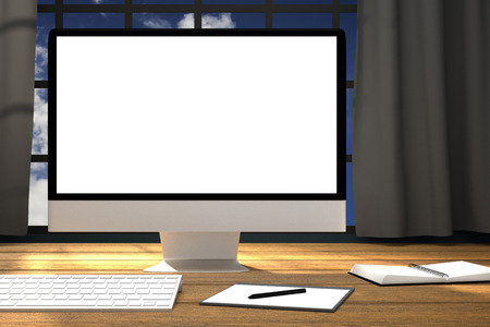 3D Rendering : illustration of  workplace mockup.PC moniter on wooden table.The working surface of the computer office with modern feel.
