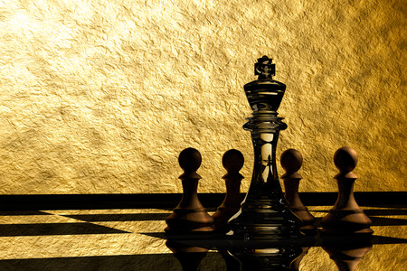 outwit: 3D Rendering : illustration of chess pieces.the glass king chess at the center with wooden pawn chess in the back.put on chess board with gold background.leader concept.success concept,business leader concept