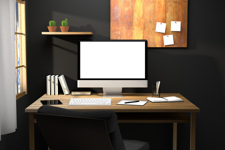 chill: 3D Rendering : illustration of modern creative workplace mockup.PC monitor on wooden table.translucent curtain and glass window with sunlight shining from the outside.