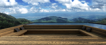 3D rendering : illustration of modern wooden resort or home at outdoor rest zone with beautiful view on the top of mountain and near blue sky.wooden terrace steps floor Stock Photo
