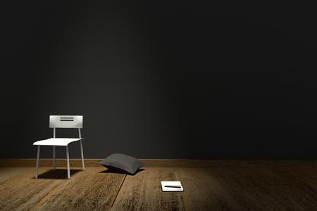 Rappresentazione 3D: Illustrazione dell'interno moderno con il cuscino e il taccuino della sedia contro il fondo nero opaco della parete ed il pavimento di legno illuminazione dalla cima della stanza concetto creativo concetto di orizzontale Posto di lavoro