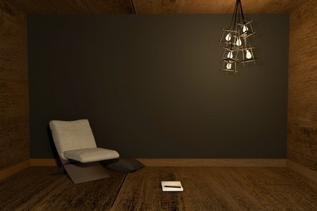 snug: 3D rendering : Illustration of night scene Modern interior with chair and note book put on wooden floor against black wall background. warm light lamp hanging on ceiling Stock Photo