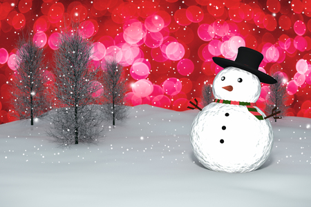 3D Rendering :  merry christmas snow man doll on perspective snowscape sparkling bokeh wall light and christmas tree in background.space for display your product