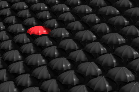 mainstream: 3D Rendering : illustartion of Red umbrella stand out from the crowd of many black and white umbrellas. Business, leader concept, being different concepts