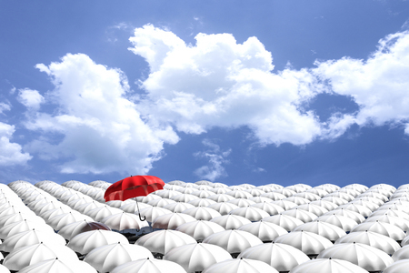 mainstream: 3D Rendering : illustartion of Red umbrella floating above from the crowd of many white umbrellas against blue sky and clouds.Business leader concept, being different concepts
