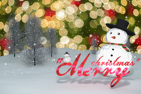 3D Rendering : 2016 merry christmas light bokeh text and snow man doll on perspective snowscape sparkling bokeh wall light and christmas tree in background.space for display your product